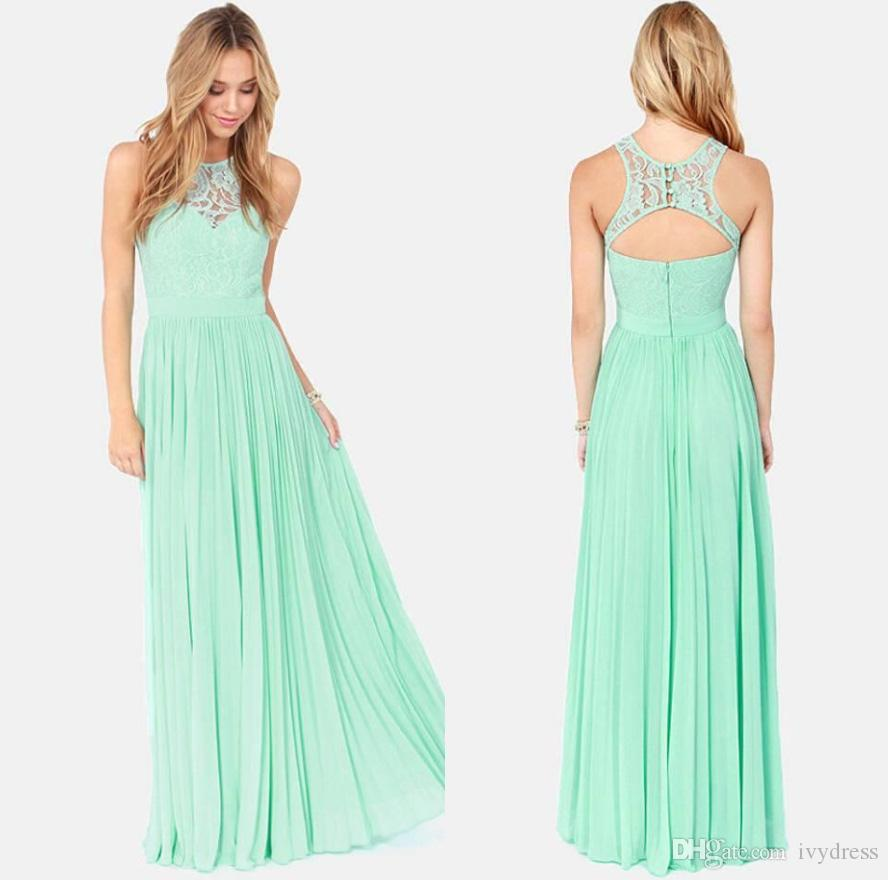Cheap Chiffon Lace Long Mint Bridesmaid Dress Under 50