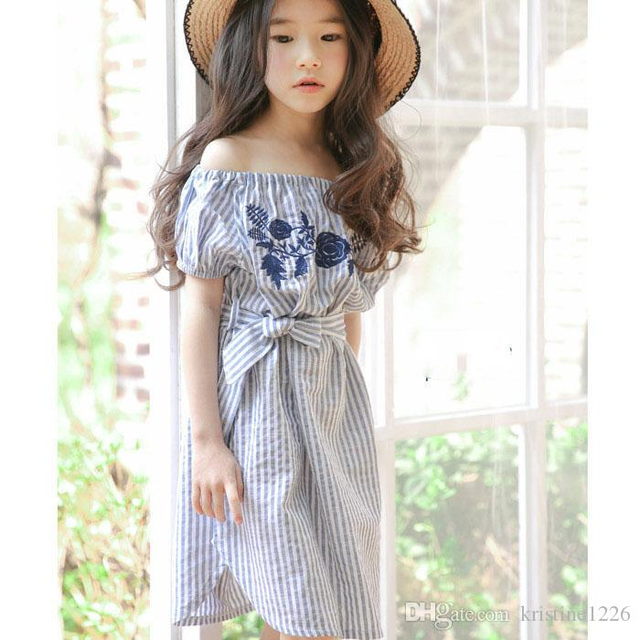 d148da0e 2019 Floral Embroidered Girls Dress 2017 Summer Off Shoulder Girls Costume  For Kids Clothes Strip Little Teenage Girls Princess Dress From  Kristine1226, ...