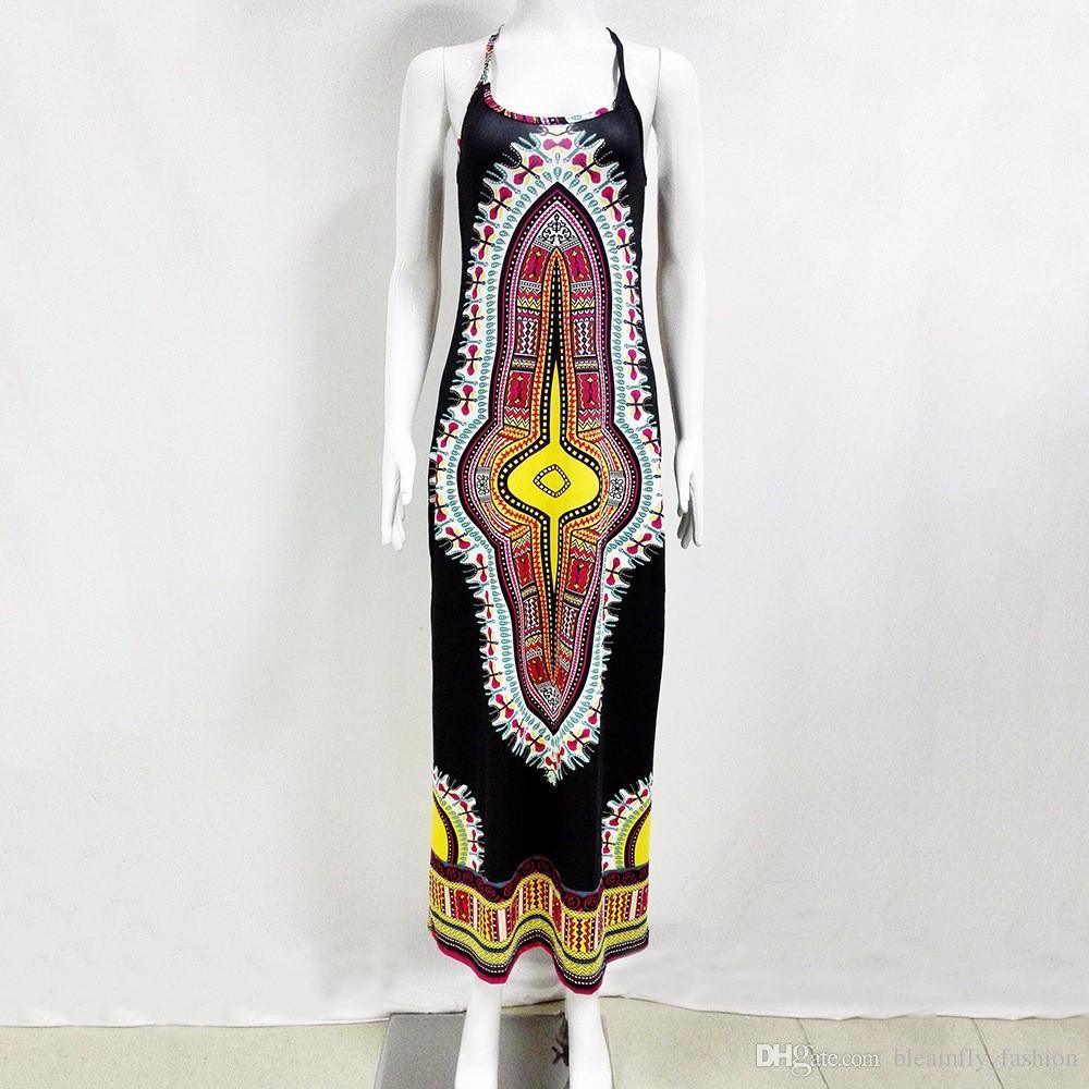 2017 New African Print Dashiki Kleid für Frauen Kleider Traditionellen Damen Sleeveless Dünnes Elegantes Maxi Kleid kleidung plus größe