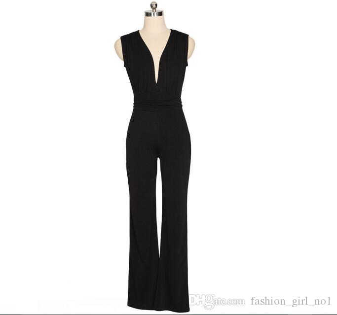 8d2ccd6b43 Wide Leg Elegant Jumpsuits Black V-neck Jumps Embellish Cuffs Long ...
