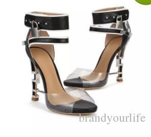 Neue 2017 Mode-Design Spike Hochhackigen Peep Toe Frauen Sandalen Stiefel Wein Strappless Rhinstone Lock Sommer Schuhe Frau Hohe Qualität