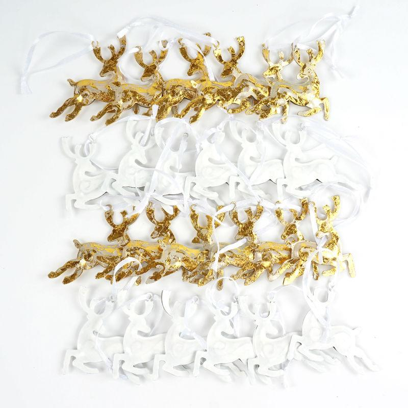Fashion New Gold Reindeer Christmas Tree Decorations 24Pcs Gold &White Metal Deer Crafts Christmas Gifts Christmas Tree Ornaments for Home