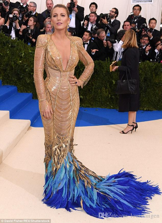 2018 Evening Dress Blake Lively Met Gala V Neck Gold Feather Long ...