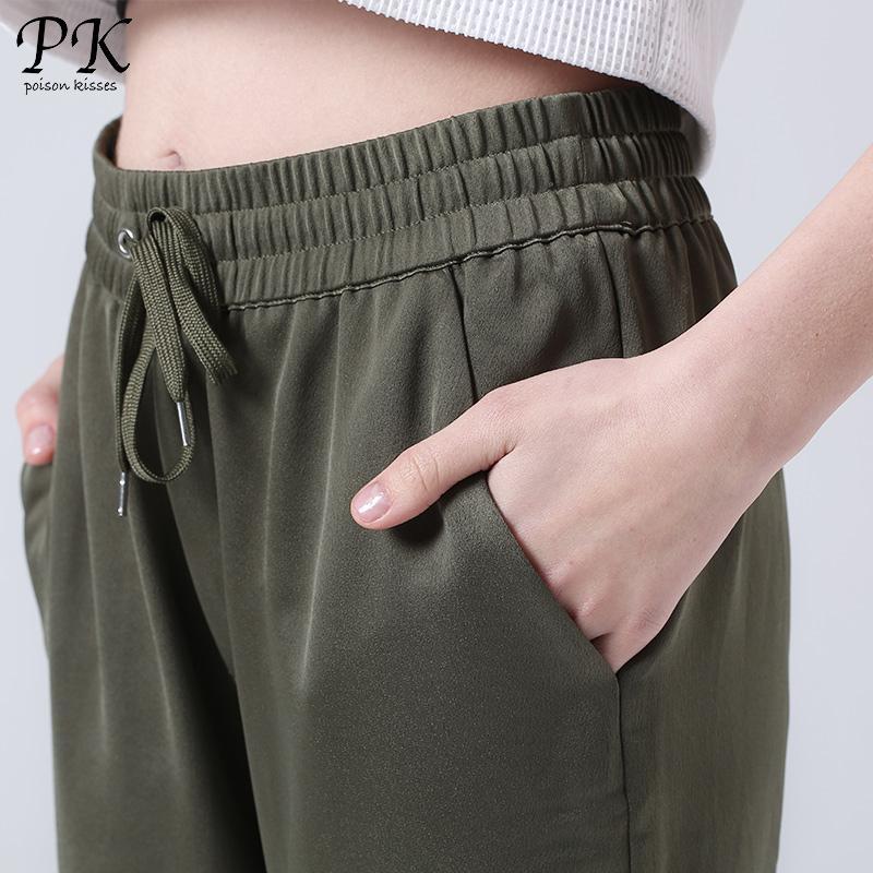 PK Armee Grün Jogger Frauen Hosen Fitness Leinen Pluderhosen Sporty Green Femme Jogginghose Frauen Leggings Pantalons Mujer Femme
