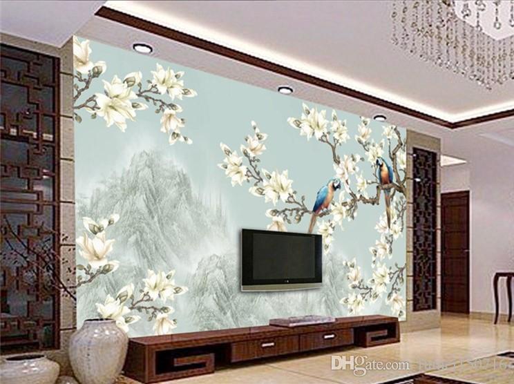 Salon de paysage de style contemporain et contracté Réglage de la télévision Mur Papier peint Tissu mural Peinture à la main de fleurs et de papier peint 3 d