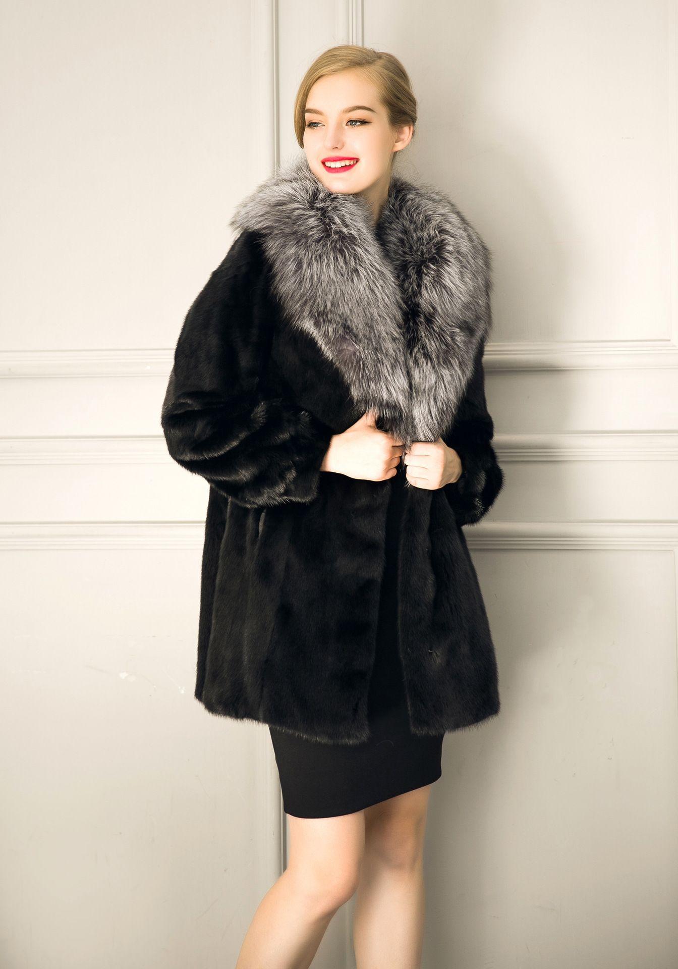 Herbst Winter Nachahmung Fuax Pelz Nachahmung Fuax Fuchspelz Jacke Kunstpelz Mäntel lange synthetische Outwear Plus Size