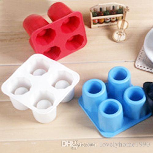 4-tasse glace cube forme de tir Silicion Shooters verre Freeze Moule Maker plateau parti