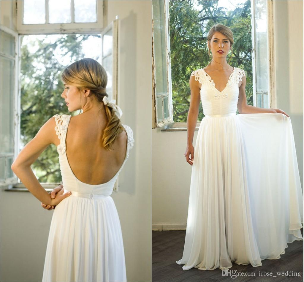 Illusion Bodic Sexy V Neck Open Back Wedding Dresses Lace Appliques Backless A Line Empire Flowy Beach Bridal Floor Length Boho Gowns