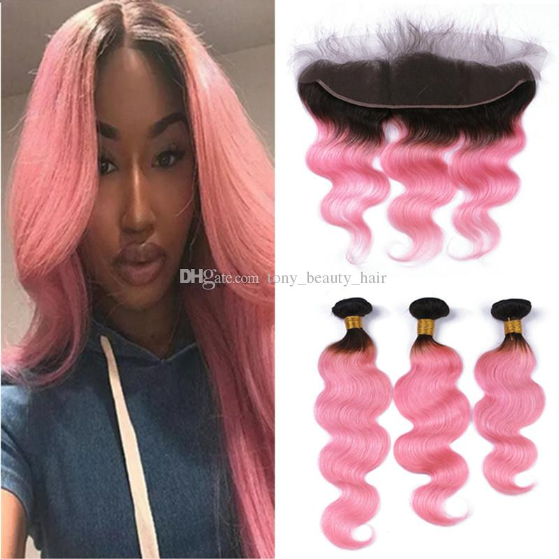 1b Pink Ombre Body Wave Peruvian Human Hair Weave Bundles With Lace
