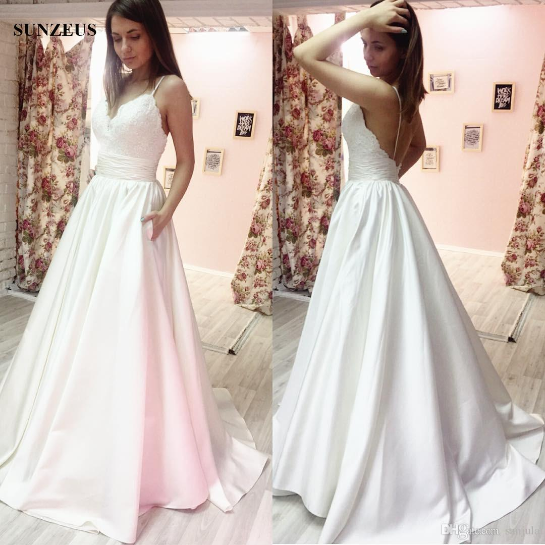Discount A Line Spaghetti Straps Low Back Wedding Dress