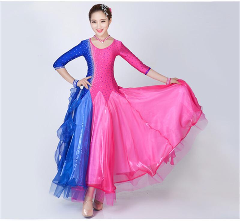 NEUE moderne Tanz Kleid Frauen Diamant Stickerei Waltz Tango Foxtrot Quickstep Kostüm Wettbewerb Kleidung Standard Ballroom Dance Rock 020