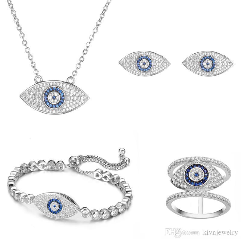 KIVN Fashion jewelry Tiny Pave Evil eye Pave CZ Cubic Zirconia Bridal Wedding Earrings for Women