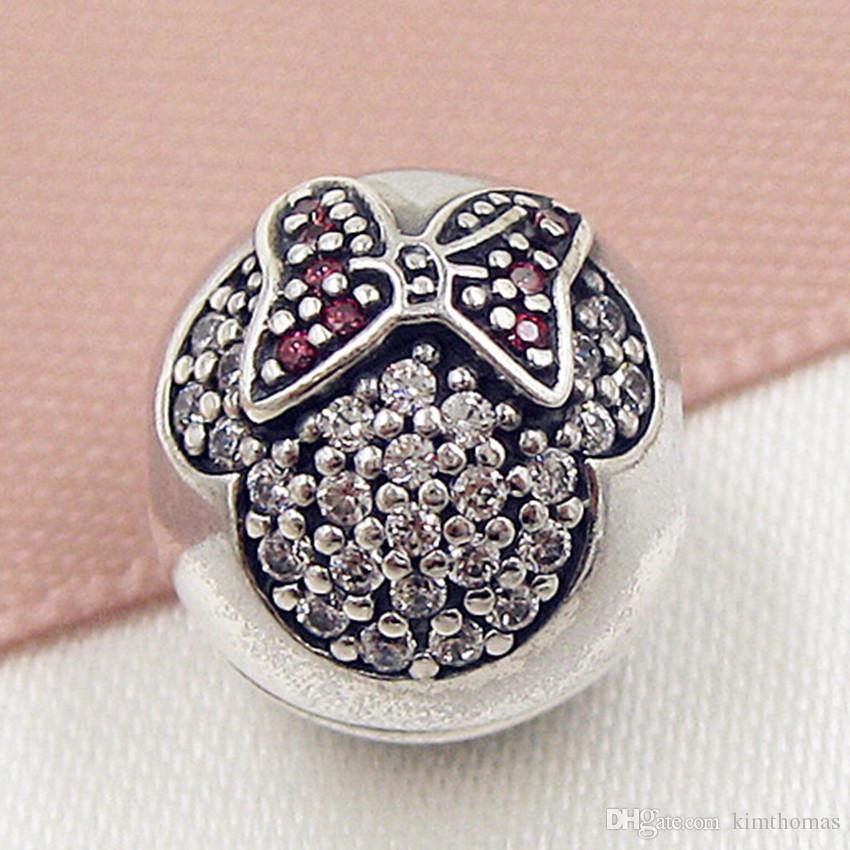 100% 925 Sterling Silver Minine Pave Clip Charm Bead con rojo y transparente Cz adapta European Pandora Jewelry pulseras collares colgantes