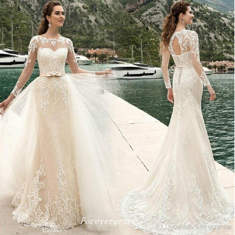 Elegant lace sheer neck wedding dress mermaid long sleeves for Plus size wedding dresses size 32 and up