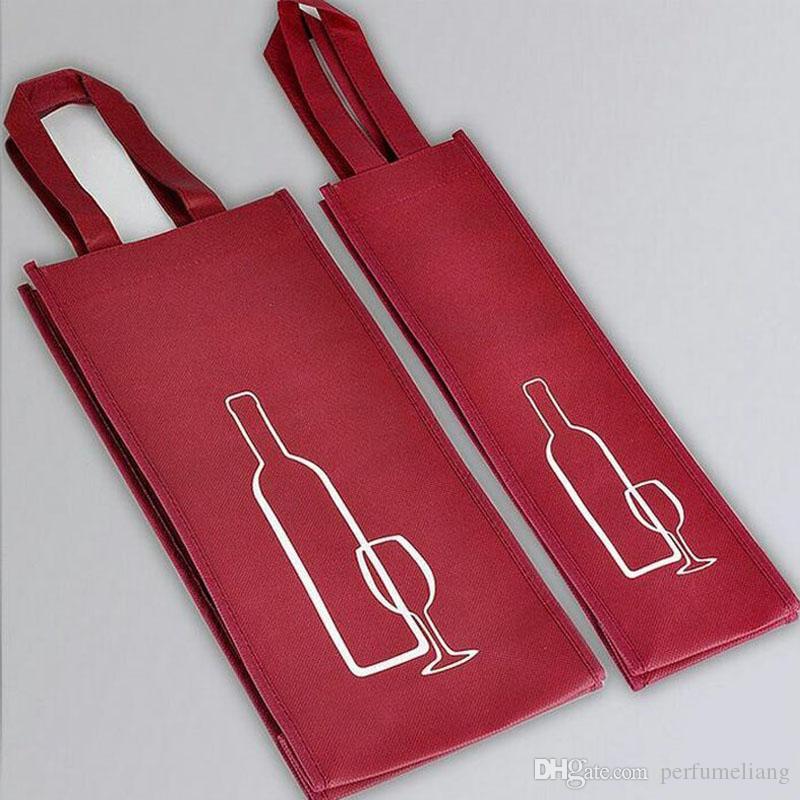 Tragbare Vliesstoff Rotwein Aufbewahrungstasche für eine / Doppelflaschen Wein Paket Geschenk Party Verpackung Handtaschen ZA3538