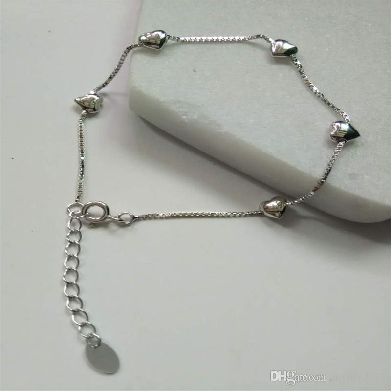 100% 925 Ayar Gümüş Kutu Zincir Bilezik Aşk Kalp Kadınlar Için 16 CM Linkler Charms Bilezik Bilezik Düğün Doğum Günü Hediyeleri