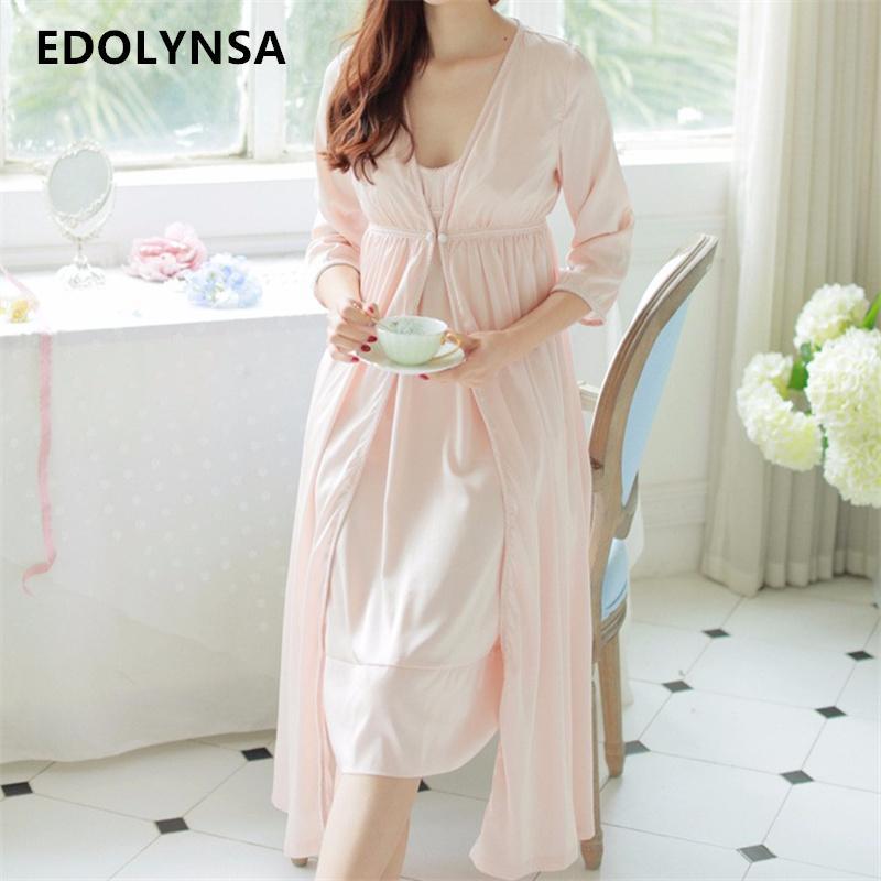 f38a5a192 2019 Wholesale New Arrivals Silk Nightgown Robes Set Bathrobe Sets Vintage  Nightdress Set Bridesmaid Robes Set Peignoir Wedding Robe  H137 From  Splendid99