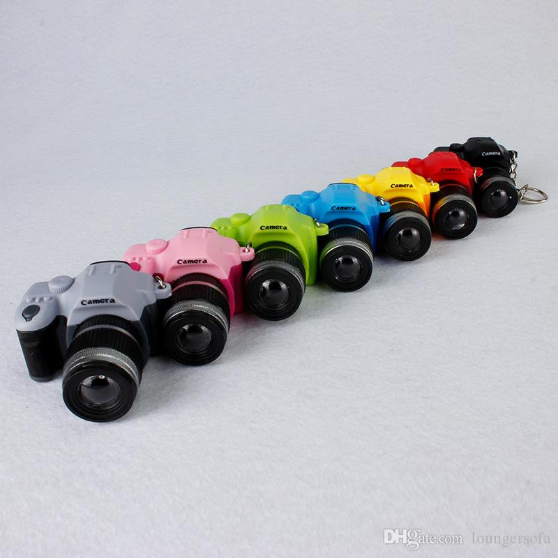 Key Chain Flashlights C Section D Buckle Mini SLR Camera Type LED Luminous Sound Keys Chains Creative Flashlight Pendant 2 59bs