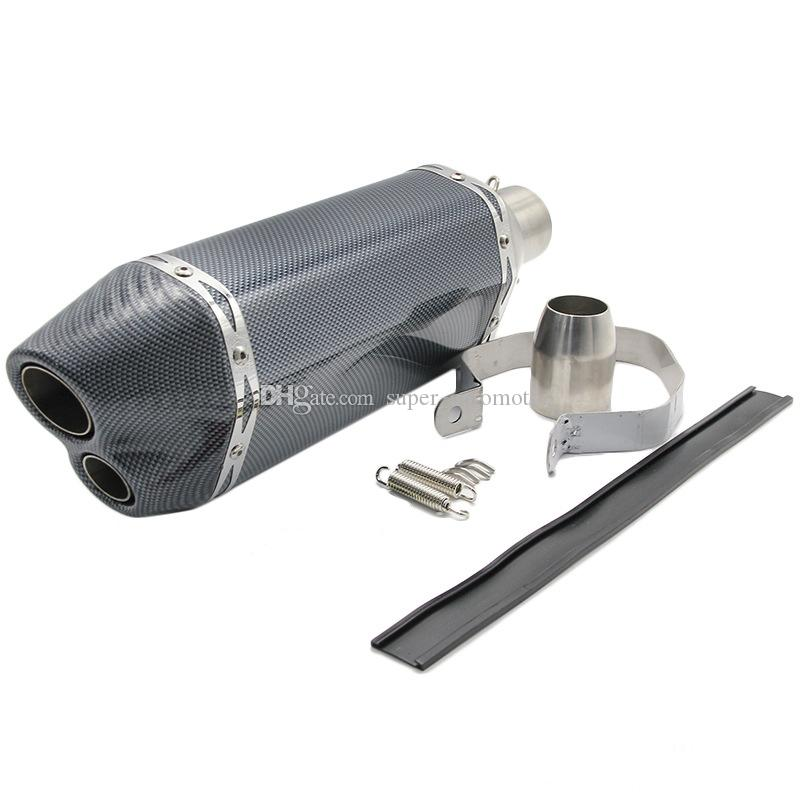 420mm Length 51mm Inlet Diameter Universal Carbon Fiber Motorcycle Double Exhaust Muffler Pipe For Honda CBR