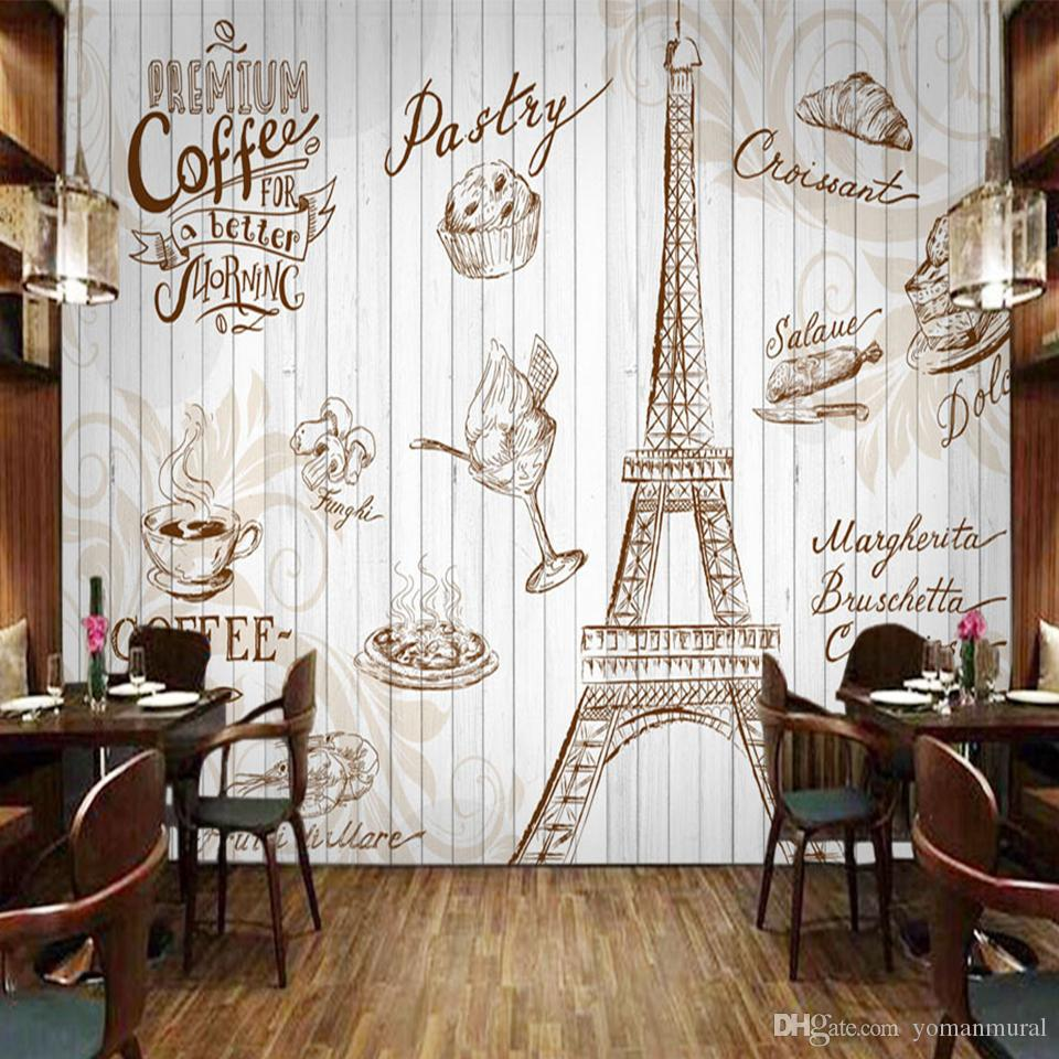 Custom Wall Mural 3D Retro Letters Wallpaper Coffee Cafe Cake Shop Restaurant Art Tooling Backdrop Wall Painting Wallpaper