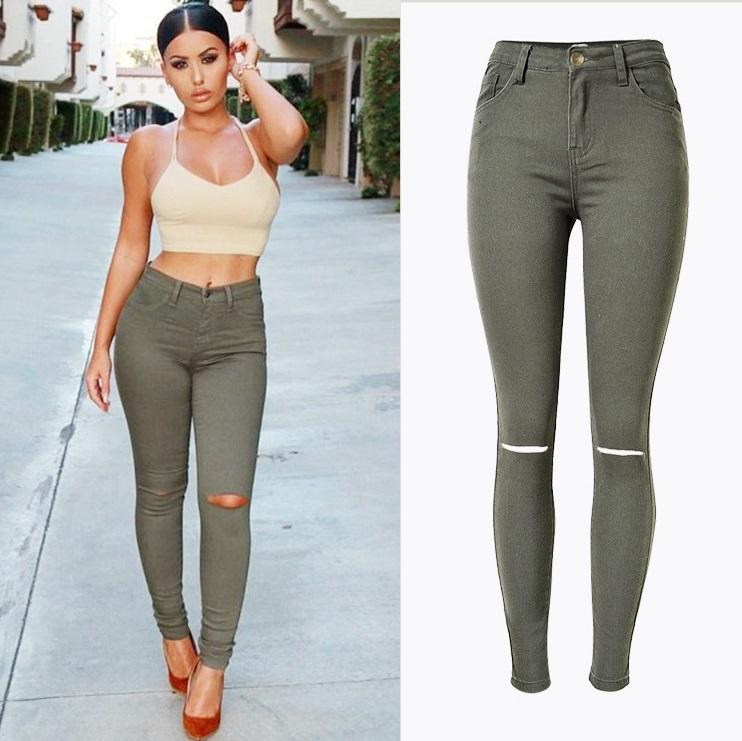 a0adee985db 2019 New Fashion Ladies Armee Verte Slim Jeans Dechires Skinny Jean Taille  Haute Women Grande Jeans Femme Stretch Plus Size Pantalon From Molystory