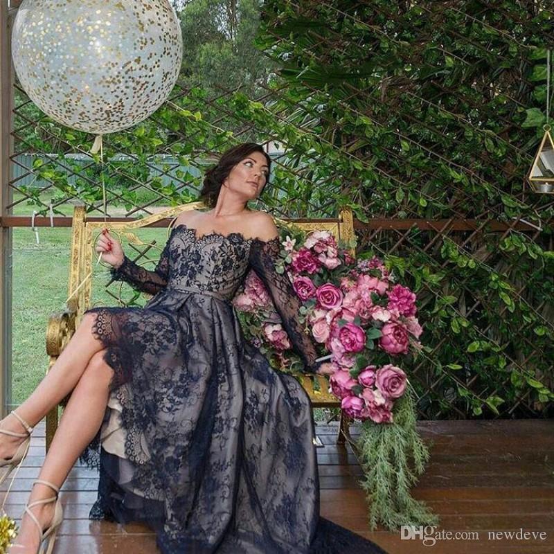 Black Off The Spalla Plus Size Prom Dresses Abiti da sera in pizzo Abiti da sera Ciao Lo Lo Party Dress