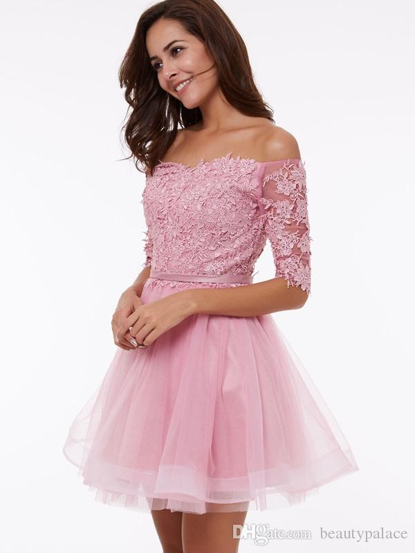 Por encargo A Line Mini Short Pearl Pink Tulle fuera del hombro Vestidos de regreso a casa con apliques Media manga con cordones Vestidos de fiesta de bajo precio