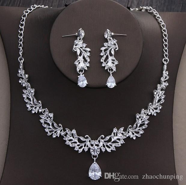 wholesale flow of new super flash bride crystal crown jewelry, married zircon necklace, earrings, headwear, three sets of free delivery