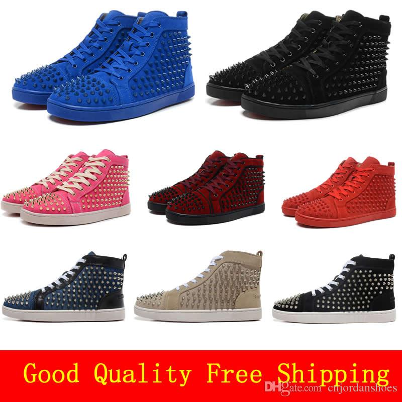 11d404244482 Cheap Red Bottom Sneakers for Men Luxury Black Suede with Spikes ...