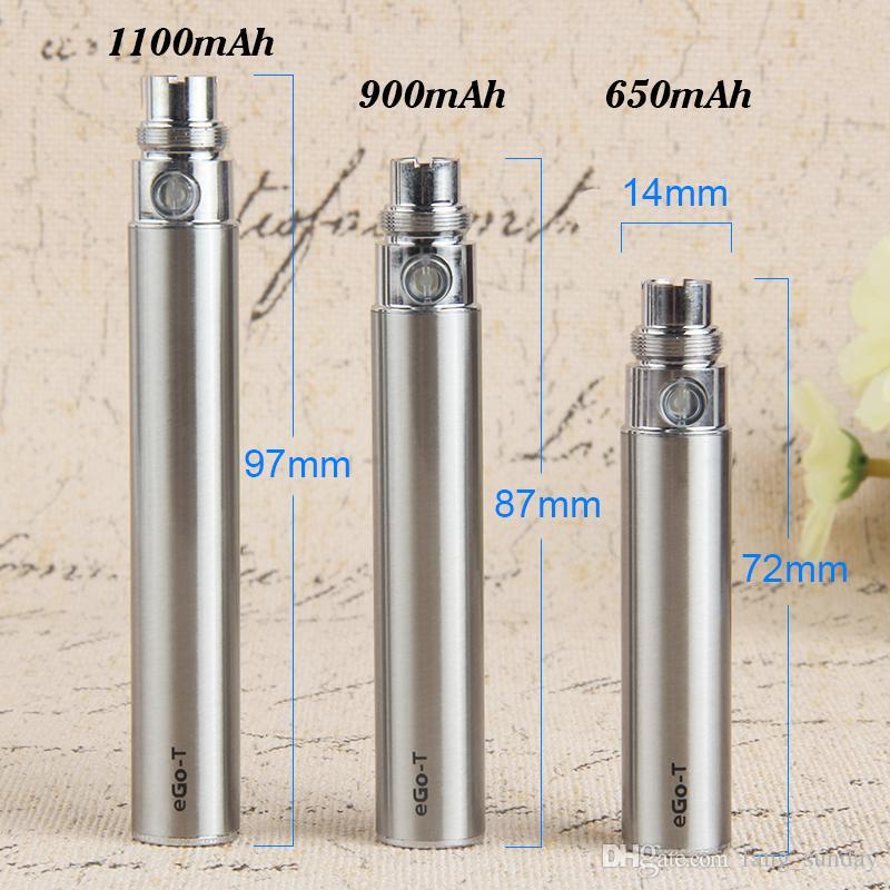بطاريات eVod Vape Pen eGo T 650 900 1100mAh 510 بطاريات مبخر خيطي لشاحن Glass Globe Dry Herb CE4 CE6 H2