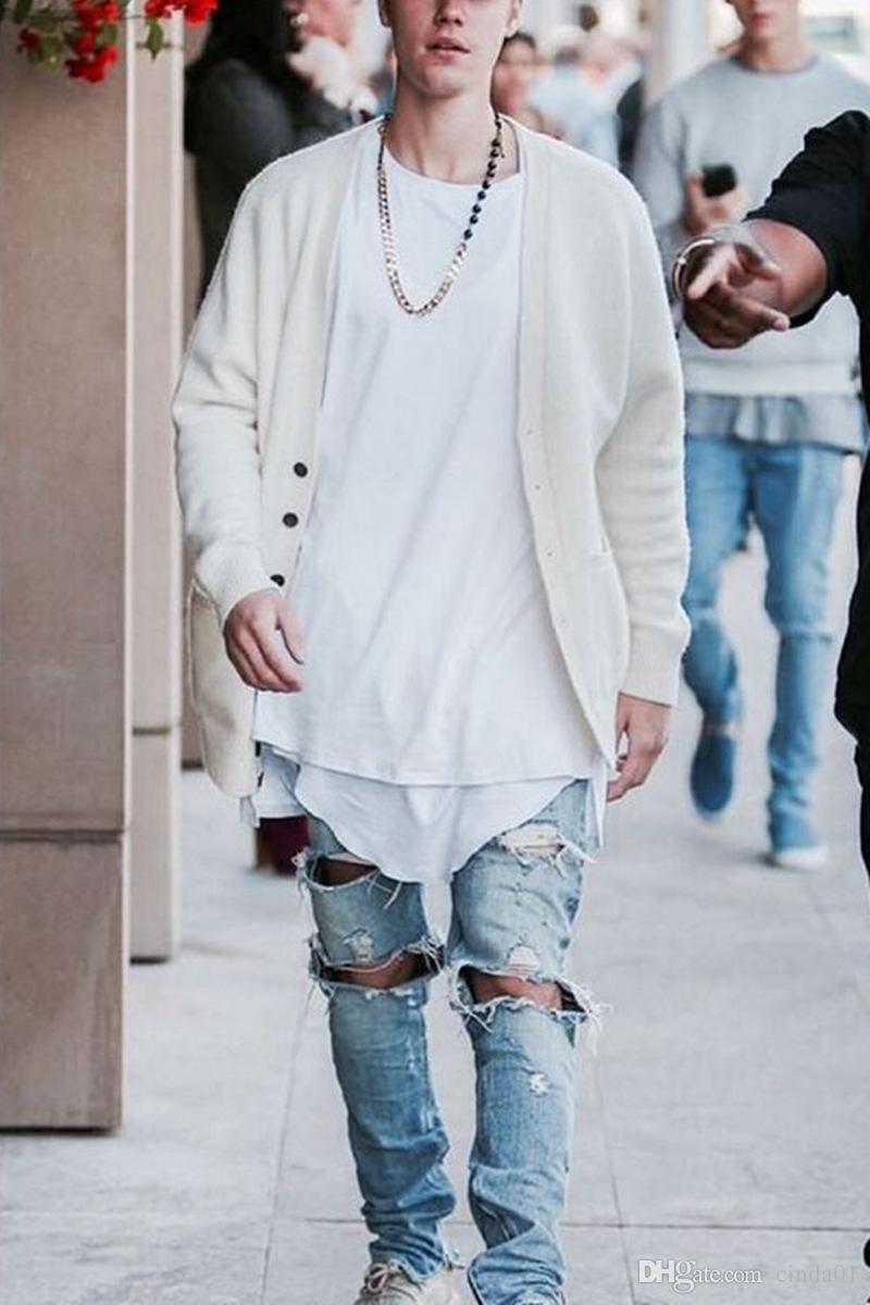 Uomo Jeans jeans strappati blu Rock Star Mens tuta denim maschile Pants