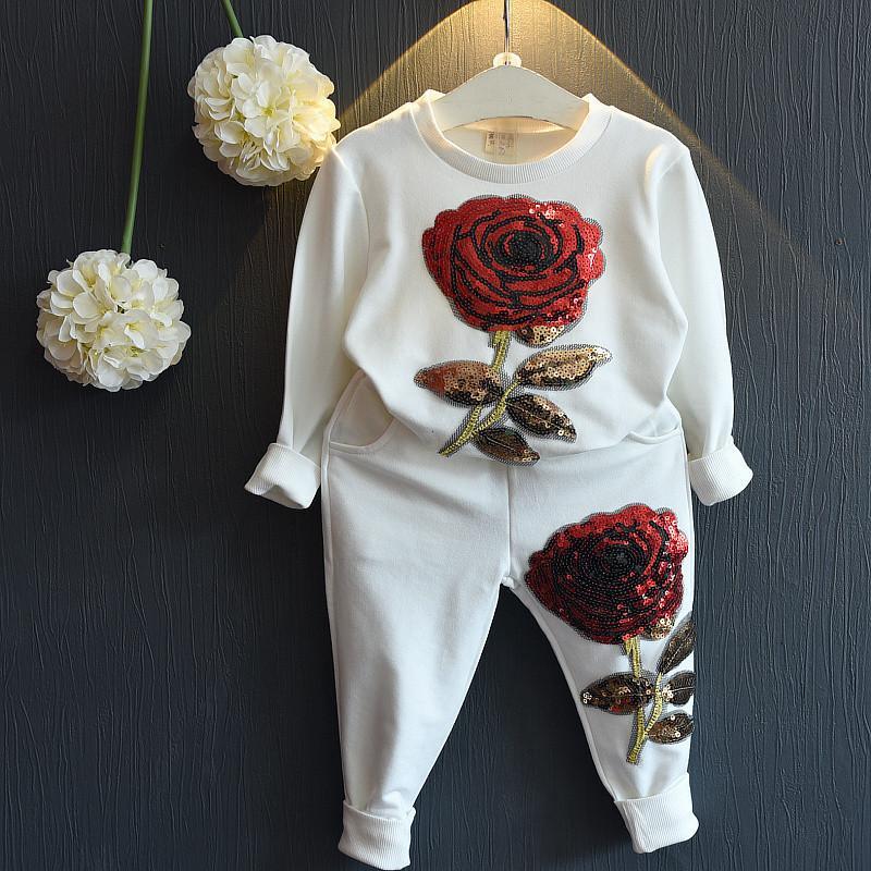 a48edbe744 2017 Baby Flower Girl Suits Children Toddler Kids Girls Outfits Clothes O-Neck  Long Sleeve T-shirt Top+Pants Sweet Girls Rose Set Newborn Autumn Cotton ...