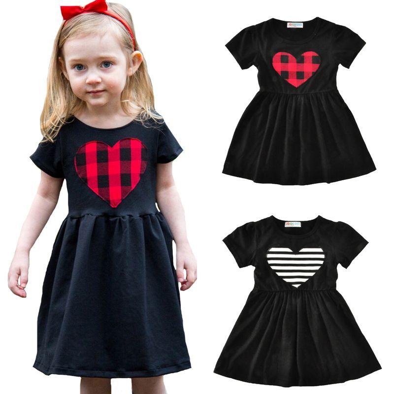 71056f8581e 2019 Girls Summer Dress 2017 Brand Striped Plaid Sweet Heart Print Kids  Party Dress Children Costume Cute Princess Dress Girl Clothes Outfits From  ...