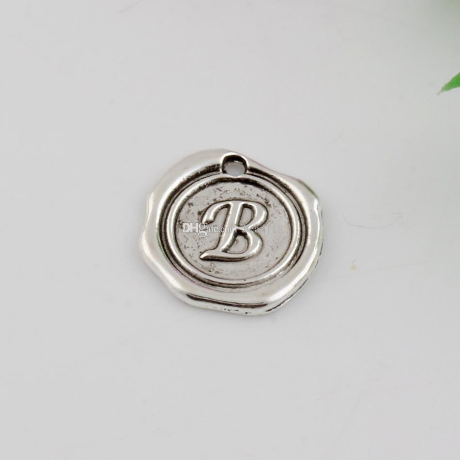Hot Sales ! Antique Silver Zinc Alloy Single-sided mixed Alphabet Initial Charm Pendants 18x 18.5mm DIY Jewelry