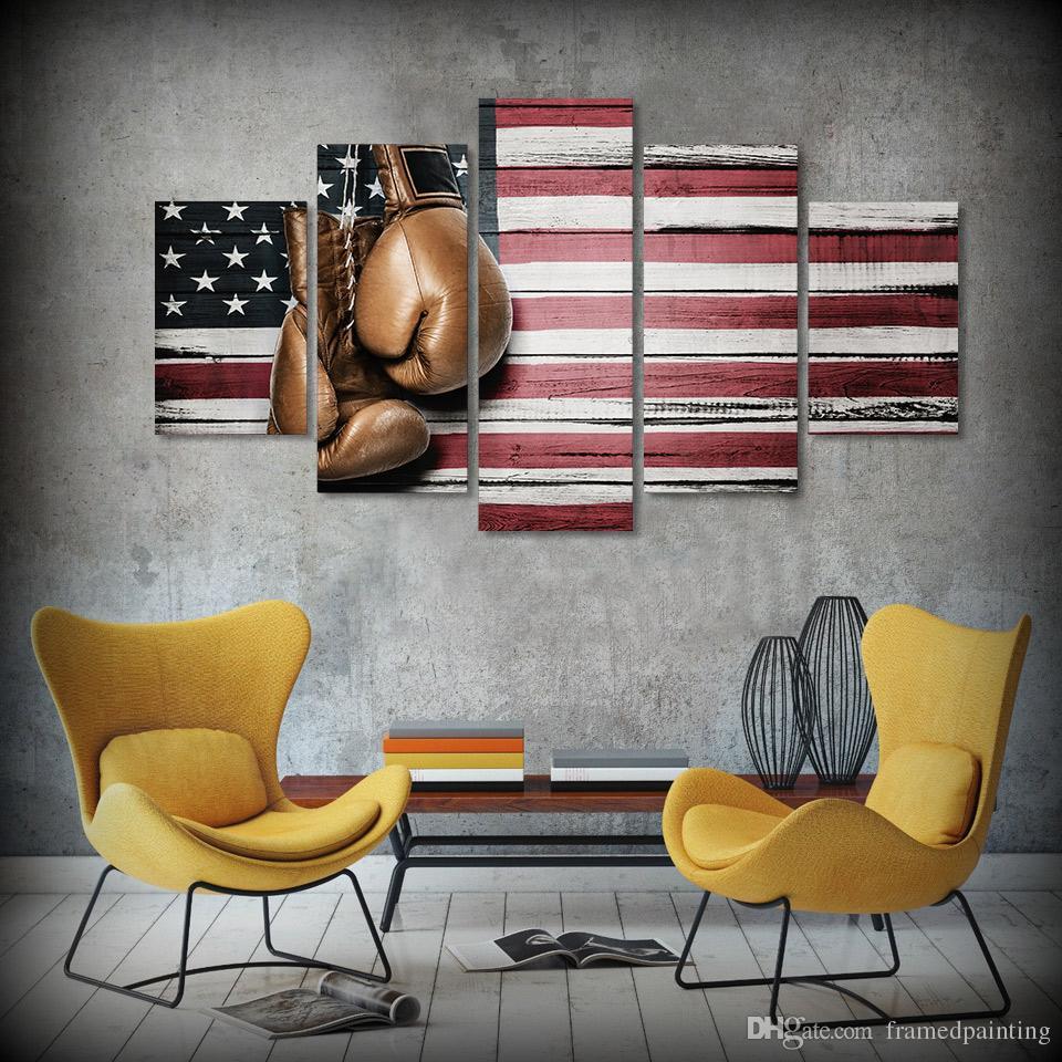 / Set Incorniciato HD stampato Boxing Pride Flag Immagine astratta Olio su tela Incorniciato Asian Wall Art Posters For Kid Home