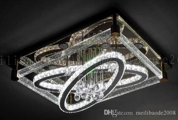 BE50 einfache moderne kreative rechteckige Deckenleuchte ovale LED-Kristalllampen Wohnzimmer Restaurant Schlafzimmer Hotel Deckenbeleuchtung Beleuchtung