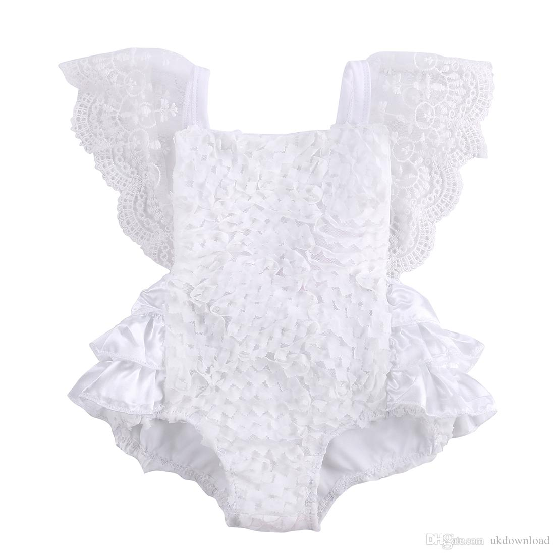 aae62a3aece Tirred Cotton Bow Cute White Rompers Infant Baby Girl Clothes Lace ...