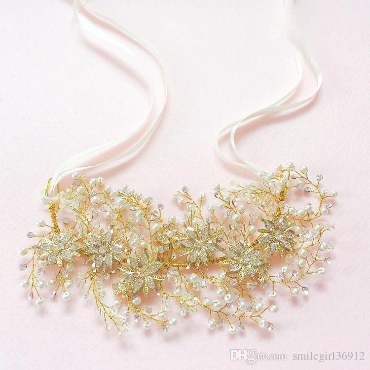 Wedding Bridal Gold Handmade Crystal Rhinestone Pearl Ribbon Hairband Headband Hair Accessories Headpiece Fascinators Tiaras Wholesale New