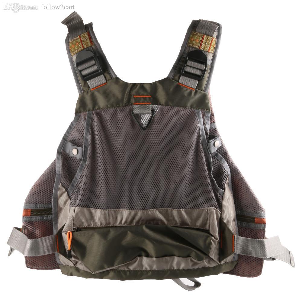 Kostenloser Versand Professionelle Mehrere Taschen Mesh Fly Fishing Weste Rucksack Multifunktionale Männer Outdoor Sports Jacke Armee Grün