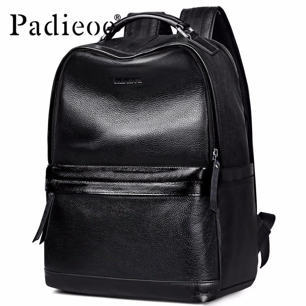 28e98ba7cc WholeTide Padieoe New Designer Korean Style Male Backpack Luxury Brand  Black Genuine Leather Backpack Fashion Solid Men Casual Daypacks Canada  2019 From ...