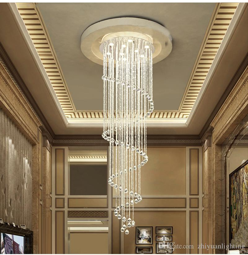 Modern Led Crystal Chandeliers Stairs Chandelier Lamps
