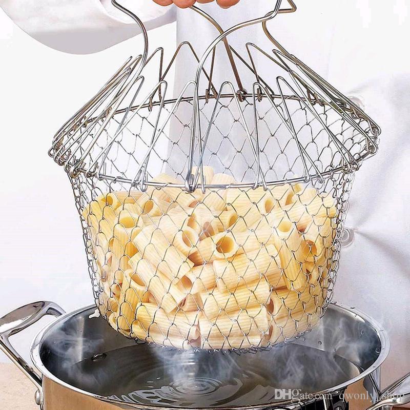 Nueva cera plegable de enjuague con vapor Fry Chef Basket Strainer Net Cocina herramienta de cocina con paquete al por menor
