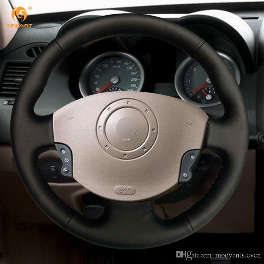 mewant black artificial leather car steering wheel cover for renault megane 2 2003 2008 kangoo. Black Bedroom Furniture Sets. Home Design Ideas