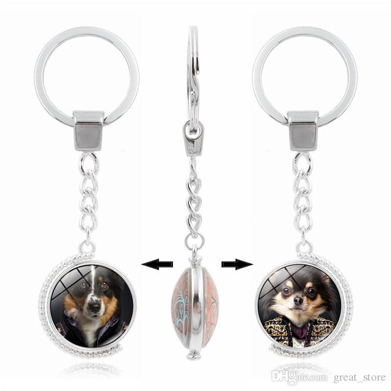 Hot sale New Hot Key Chain Cute Dog Time Gem Double Side Rotary Keychain Custom KR222 Keychains a
