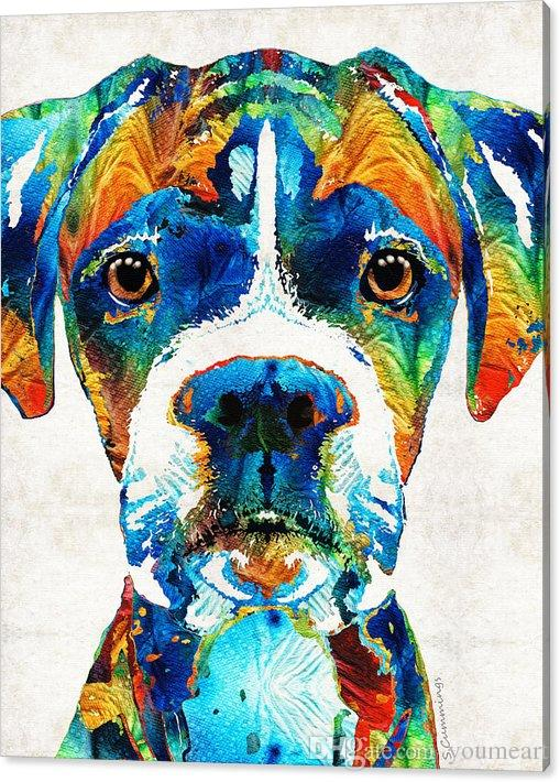 YOUME ART Colorful Boxer Dog Art Modern Canvas Wall Art for Home And ...