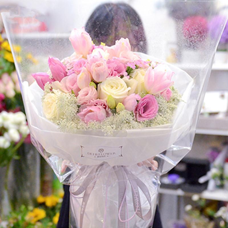 Korean Wedding Flowers: 2019 Transparent Korean Flowers Waterproof Paper Packaging