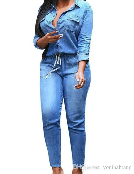 3efb0eb9ccc 2019 Wholesale Plus Size S 3XL Fashion Jeans Women Sexy Slim Women Pants  Blue Feminino Spring Lady Denim Jumpsuit Long Sleeved Trou From  Yoninahtang