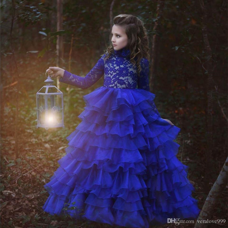 2019 Новое Прибытие Платья Девушки Цветка Royal Blue Высокая Шея Длинные Рукава Бальное платье Кружева Аппликации Первое Причастие Конкурс Платья
