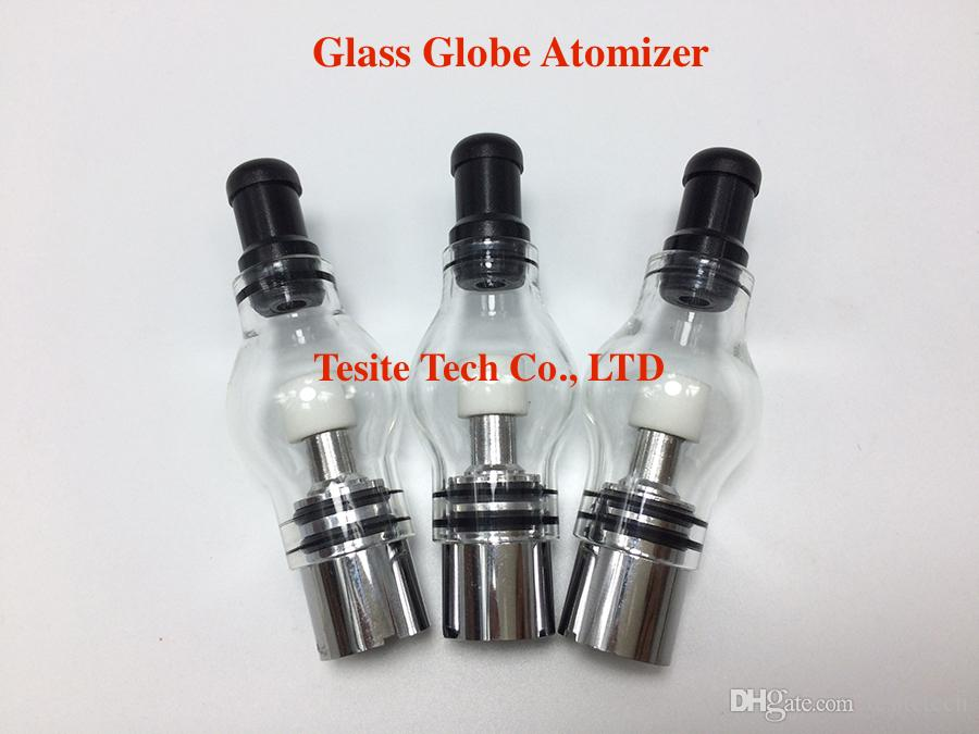 New Glass globe atomizer pyrex glass tank with Ceramic Wax Coil Dry Vaporizer Clearomizer Wax Atomizer for 510 eGo Battery