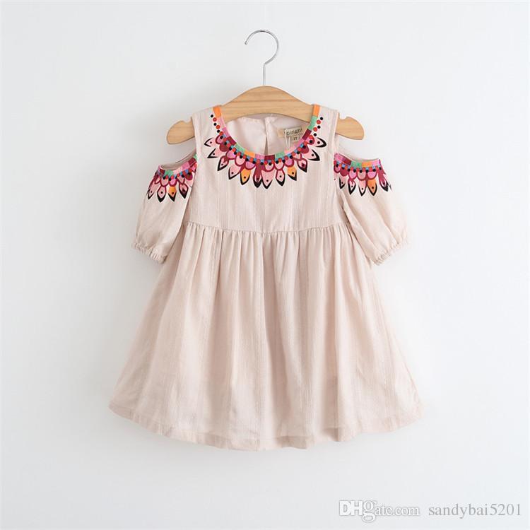 Baby Girls Summer Dress 2017 Spring Kids Girls Floral Print Dresses Princess Off-shoulder Tutu Dress For Party Children Clothing
